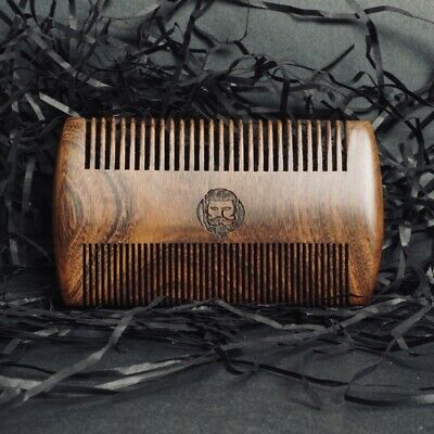 £4.90 • Buy Mens Black & Gold Sandalwood Hair And Beard Comb Made From REAL Wood