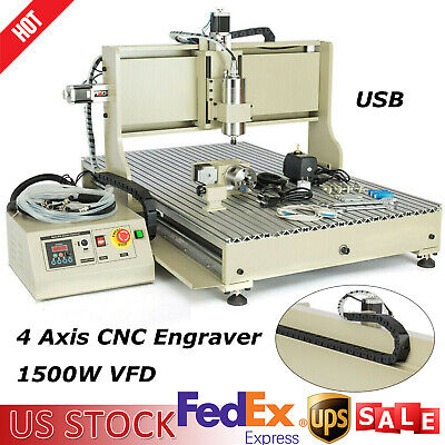 $1965 • Buy 1.5KW VFD CNC 6090 4 Axis Engraving Milling Drilling Machine USB Engraver Miller