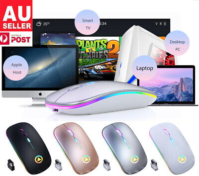 AU13.58 • Buy Rechargeable USB Wireless RGB LED Mouse For Tablet PC Andoid IPad