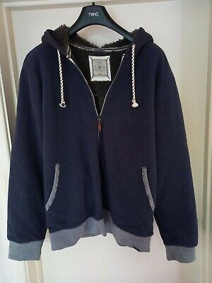 £12 • Buy Next Mens Navy Blue Hooded,Fur Lined,Zipped Jacket Size XL