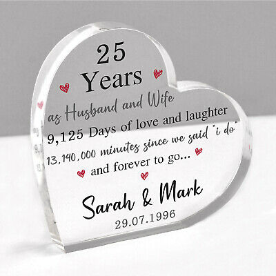 £13.95 • Buy Personalised 25th Anniversary Gift Husband Wife Him Silver Wedding Acrylic Heart