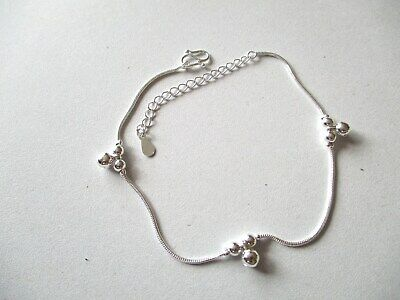 £4.99 • Buy 925 Sterling Silver Anklet With Silver Balls & Three Bells + Gift Bag