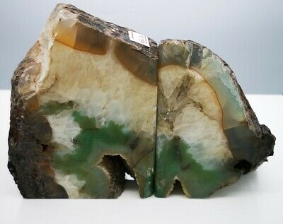£44.99 • Buy Stunning Heavy Large Green Agate Geode Bookends Healing Crystal