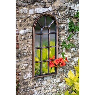 £59.95 • Buy Arched Brushed Copper Window Shape Arch Mirror Gothic In/Outdoor Wall Mountable