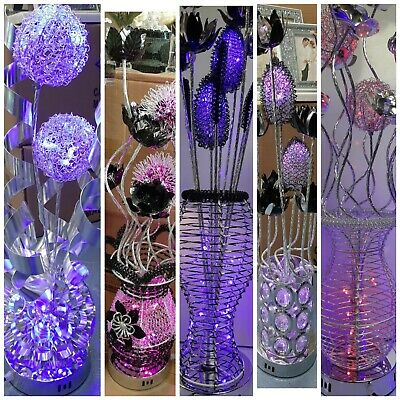 £49.99 • Buy Aluminium Metal Silver Flower Vase Style Table Floor Colour Changing Lamp