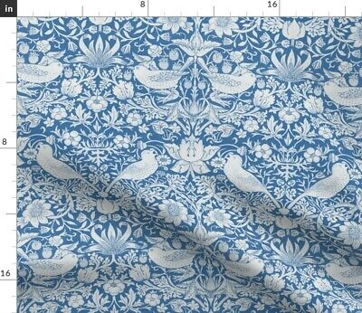 £14.85 • Buy Strawberry Blue White Victorian English Arts Spoonflower Fabric By The Yard