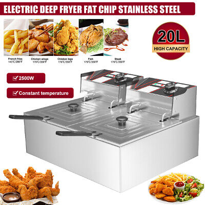 £68.96 • Buy 20L Large Electric Deep Fat Chip Fryer Commercial Stainless Steel Double Tank UK