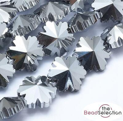 £2.59 • Buy 10 PENDANT SNOWFLAKE FACETED GLASS CRYSTAL BEADS 14mm METALLIC SILVER GLS58