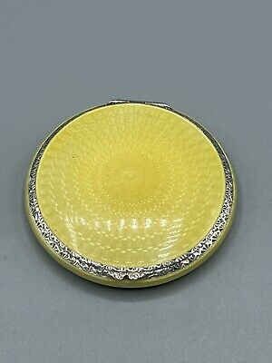 £189.99 • Buy Art Deco 1930 Solid Sterling Silver & Yellow Guilloche Enamel Compact London