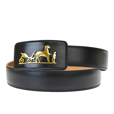 £219.69 • Buy Authentic HERMES Logo Horse Carriage Buckle Belt Leather Black Gold 68MH463