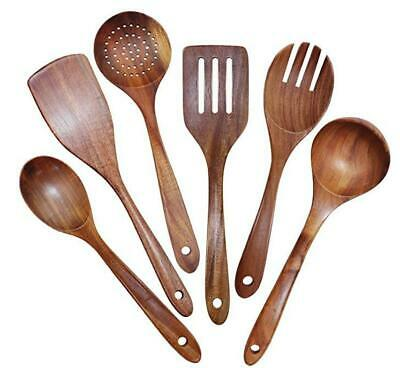 AU35.99 • Buy Wooden Utensils Set Of 6, Large Kitchen Cooking Utensil For Non Stick Cookware