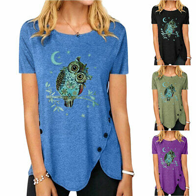 £16.99 • Buy Plus Size Womens Short Sleeve Owl Print T-Shirts Summer Casual Tops Tunic Blouse