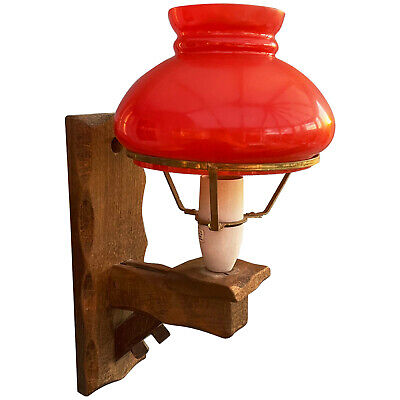£8 • Buy Vintage Rustic Single Arm Wooden Wood Wall Mounted Light Fitting + Glass Shade