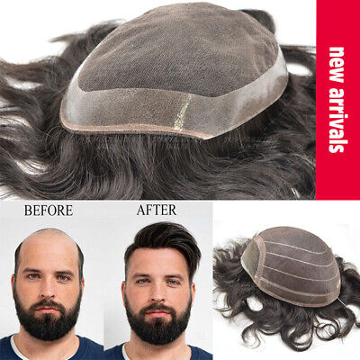 £28.38 • Buy Men Replacement System Thin PU LACE Toupee Topper Remy Human Hair Hairpiece Wigs