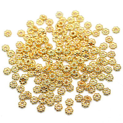 £1.89 • Buy 100 4mm Gold Snowflake Daisy Spacer Beads
