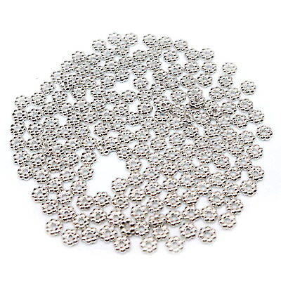 £1.26 • Buy 100 Rhodium Daisy Spacer Beads Flower Spacer Beads 4mm
