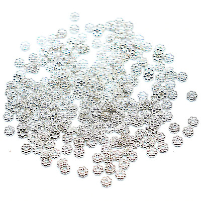 £2.08 • Buy 100 4mm Silver Snowflake Daisy Spacer Beads