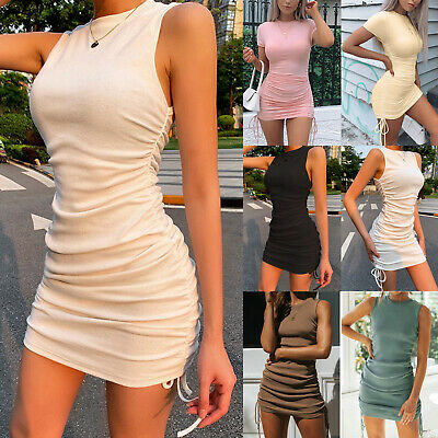 AU25.99 • Buy Women Summer Bodycon Dress Sexy Party Casual Ruched Drawstring Stretchy Dresses