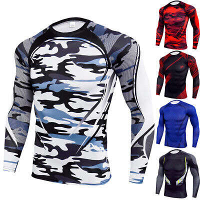 £12.31 • Buy Mens Compression Base Layer Long Sleeve Sports Breathable Fit Gym T-Shirt Tops