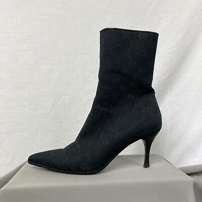 £100 • Buy Womens Authentic Gucci Monogram Ankle Boots Black UK Size 3