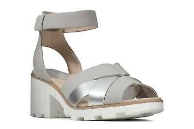 £29.99 • Buy New Clarks Rene Daisy Silver Combi Leather Comfy Wedge Sandals Size 6/39.5 D
