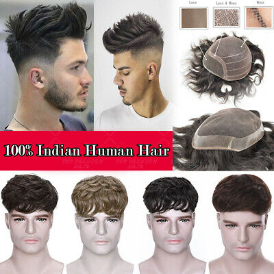 £33.10 • Buy Natural Swiss Lace Toupee Hair Replacement System Mens Hairpiece Human Hair A258