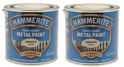 £19.99 • Buy 2x Hammerite Direct To Galvanised Paint For Metal Tin Can 250mL - Smooth Cream