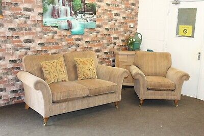 £1499 • Buy Parker Knoll Burghley 2 Seater Sofa & Chair In A Gold & Multi Stripe Fabric