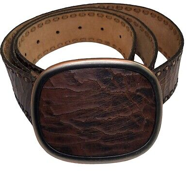 $25.52 • Buy Fossil Brown Leather Belt With Large Leather Buckle 40 Brass Buckle