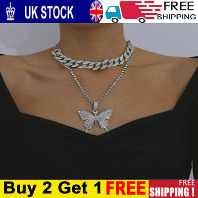 £7.59 • Buy Butterfly Pendant Rhinestone Chain Bling Crystal Choker Necklace Ladies Jewelry-