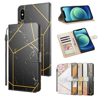 AU6.99 • Buy PU Marble Card Holder Flip Stand Cover Case For IPhone 12 11 Pro Max Xr X 8 7 6