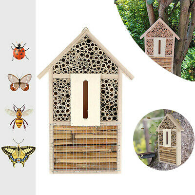 £9.99 • Buy Hanging Wooden Bee Beetle & Insect House Garden Bug Hotel Natural Shelter