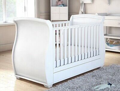 £190 • Buy B Grade - Babymore Bel Sleigh Cot Bed Drop Side With Drawer - White