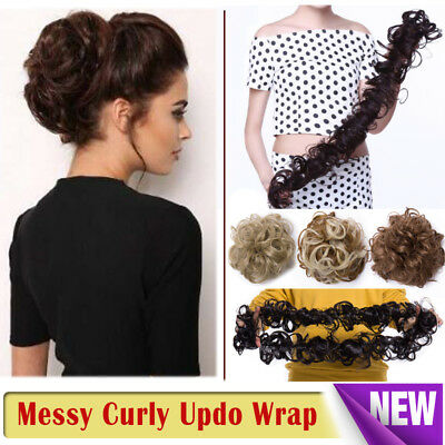£10.20 • Buy Scrunchie Updo Wrap Curly Messy Bun Hair Piece Hair Extensions Real As Human REL
