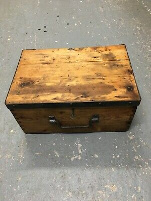 £59 • Buy Vintage Old Wooden Chest Trunk Box Tools,Toys Documents Storage.