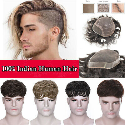 £33.10 • Buy Toupee Human Remy Hair Replacement System Thin PU Hairpiece Topper Men Wig Black