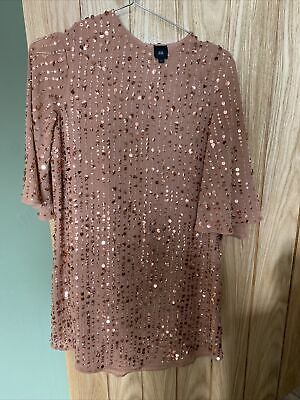 £3.18 • Buy River Island 6 Coral Sequin Dress