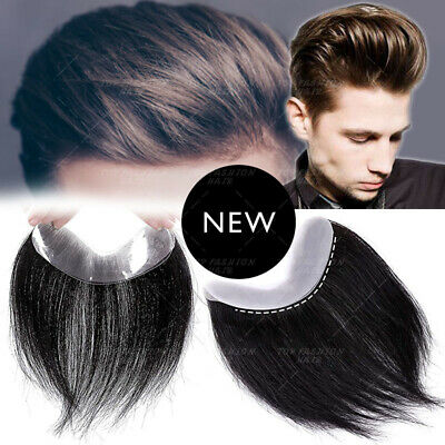 £64.36 • Buy Natural Forehead Virgin Human Hair Piece Toupee Topper Mens Replacement System