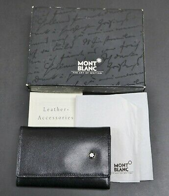£63.88 • Buy Mont Blanc Schlusseletui 30307 Black Leather Key Case In Box With Papers