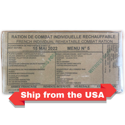 $69 • Buy French MRE RCIR (24 Hr Ration) Military Surplus Menu 5, BB2022.Ship From The USA