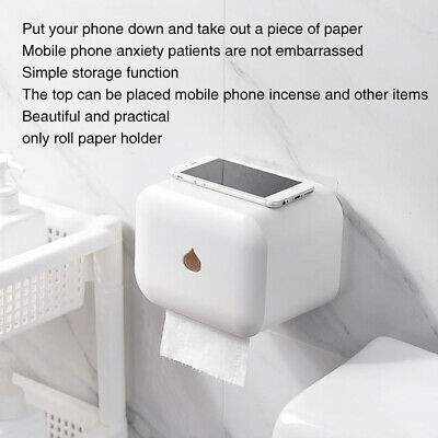 AU21.99 • Buy Toilet Waterproof Wall Mounted Tissue Roll Paper Holder With Cover Self Adhesive