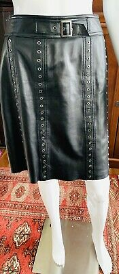 $ CDN120 • Buy Danier Black Real Leather Pencil Skirt With Metal Eyelets Grommet US Size 8