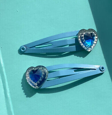 £1.75 • Buy Hair Clips With Blue Sparkly Heart Gem (pair Of 2 Snap Clips) 90s/00s! Handmade!