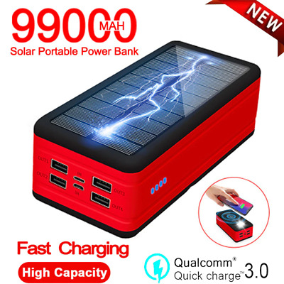 AU58.41 • Buy Wireless Solar 99000mah Fast Charger Powerbank Portable With SOS LED Light Exter