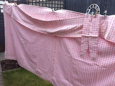 £24.99 • Buy Vintage Bespoke Pink Gingham Curtains Extra Wide With Frill And Tie Backs