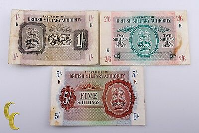 £56.42 • Buy 1943 N. Africa British Military Authority 3 Pc Note 1, 2 1/2, 5 Shillings (F-VF)