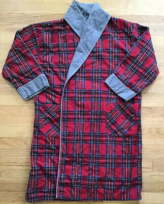$30 • Buy Vermont Country Store SZ L Double Comfort Flannel Robe Red Gray Plaid *no Belt*