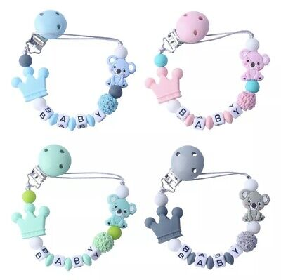 £6.99 • Buy Personalised Baby Dummy Clip Pacifier Chain Silicone Wooden Baby Shower Gift