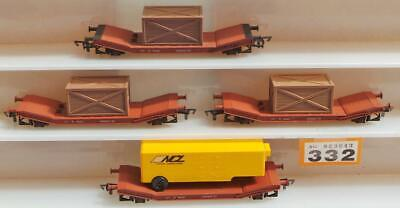 £42 • Buy #332 Airfix Low Mac Wagons: 3 With Containers, 1 With NCL Wagon Load 00