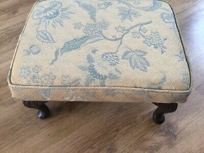 £25.60 • Buy Oblong Footstool With Queen Anne Legs Yellow Fabric Covering
